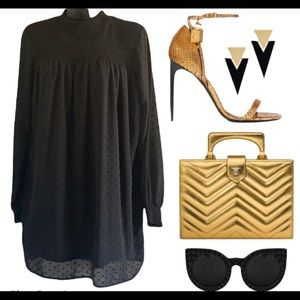 Zara long sleeve semi-sheer black dress size XS